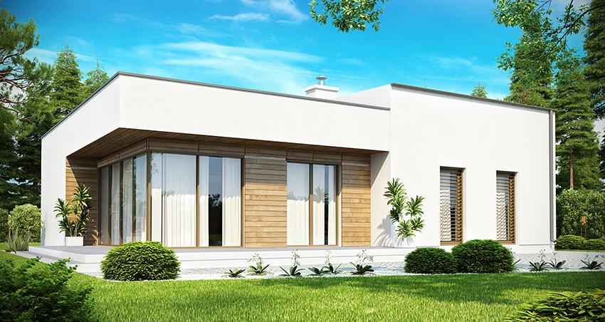 Дом из сип панелей с плоской крышей