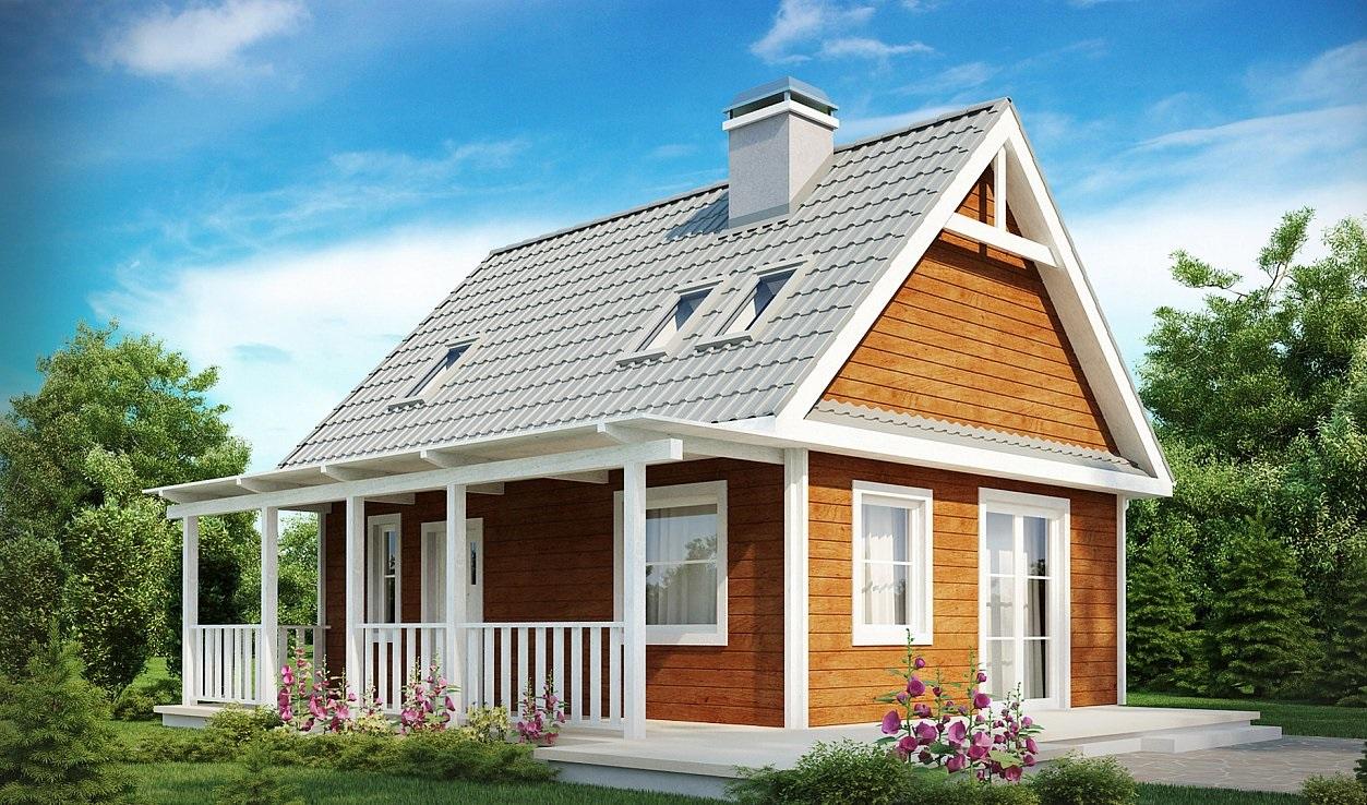 дом из сип панели с верандой